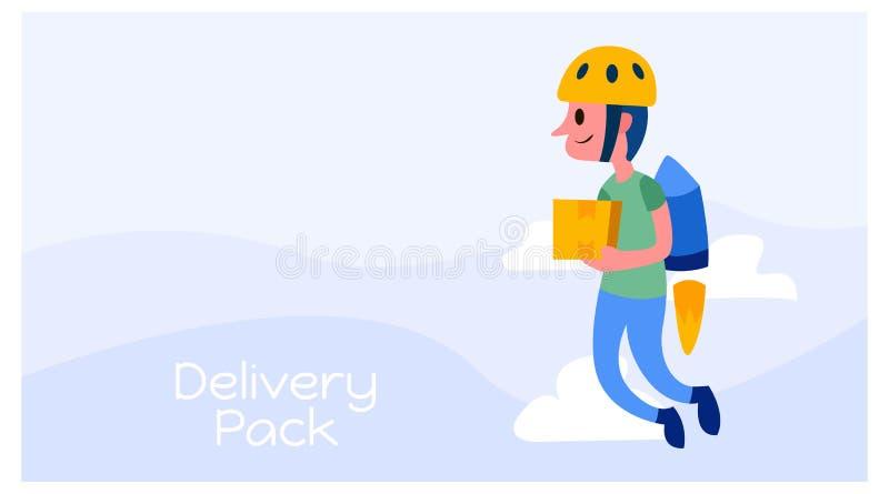 Illustration of a courier delivering packages using jetpack. logistics business mascot design. vector vector illustration