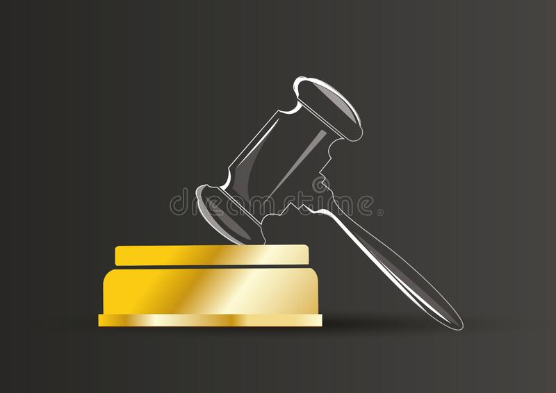 Court hammer and block award vector illustration