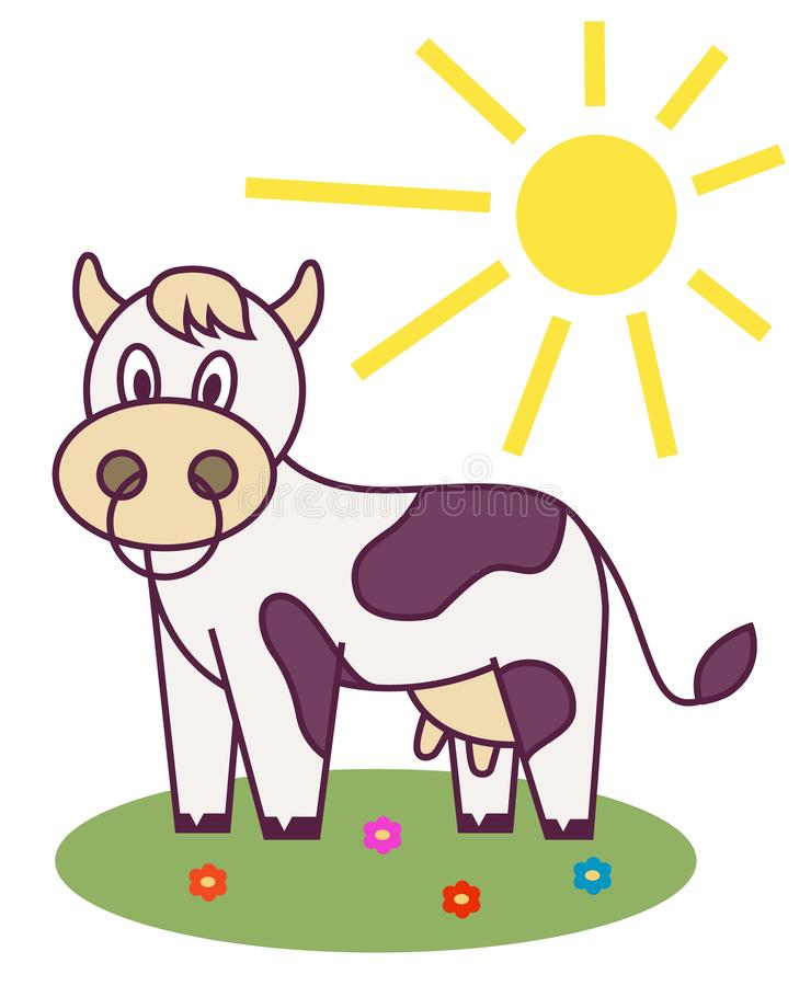 Cow in the meadow and the sun is shining. cheerful character. vector illustration