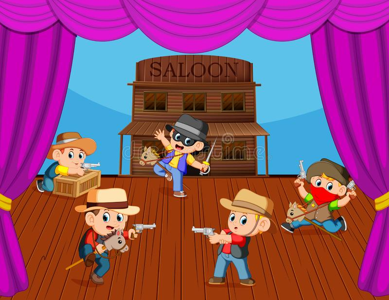 Cowboy kids on stage with acting. Illustration of Cowboy kids on stage with acting royalty free illustration