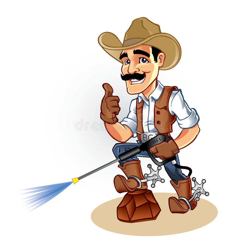 Illustration of a cowboy with water blaster pressure power washing sprayer royalty free illustration
