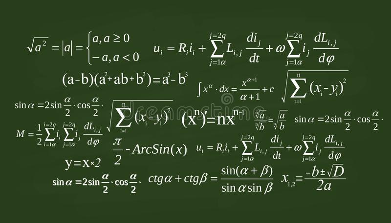 Illustration créative d'équation de maths, mathématique, arithmétique, fond de formules de physique Écran de conception d'art, ta illustration de vecteur
