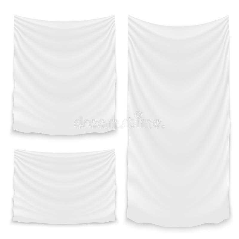 Illustration créative d'accrocher le tissu blanc vide d'isolement sur le fond Textile de tissu de banni?re de conception d'art av illustration libre de droits