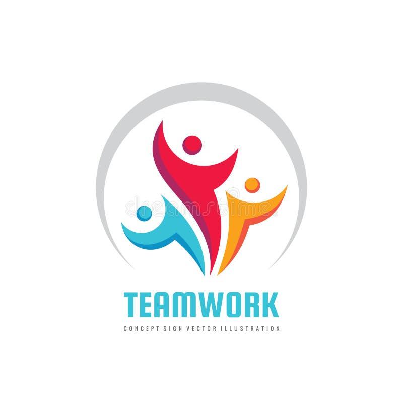 Illustration créative de calibre de logo d'affaires de vecteur de travail d'équipe Signe de groupe de personnes Symbole social de illustration libre de droits