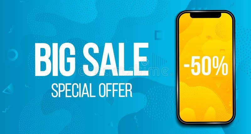 Illustration créative de grande bannière de vente avec le téléphone d'isolement sur le fond Affiche de vendredi de noir de concep illustration stock