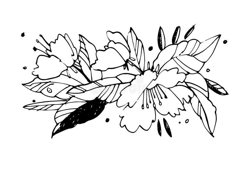 Illustration créative de graphique de fleur Textures faites avec à l'encre noire Peinture de brosse de main pour vos conceptions  illustration de vecteur