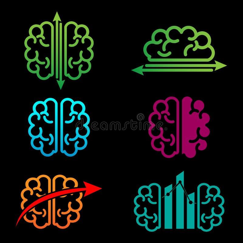 illustration créative de vecteur de calibre de logo de comptabilité de cerveau illustration stock