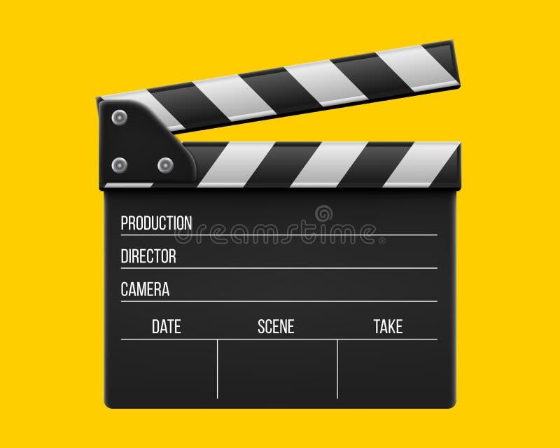 Illustration créative de vecteur de claquette réaliste du film 3d, clapet de film d'isolement sur le fond transparent Art illustration libre de droits