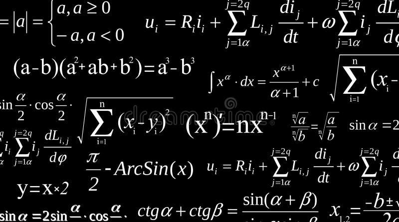 Illustration créative de vecteur d'équation de maths, mathématique, arithmétique, fond de formules de physique Écran de conceptio illustration libre de droits