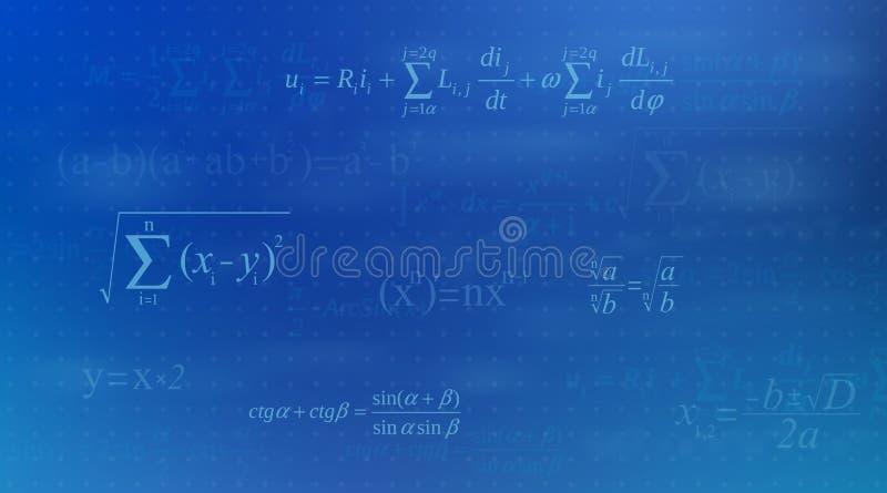 Illustration créative de vecteur d'équation de maths, mathématique, arithmétique, fond de formules de physique Écran de conceptio illustration stock