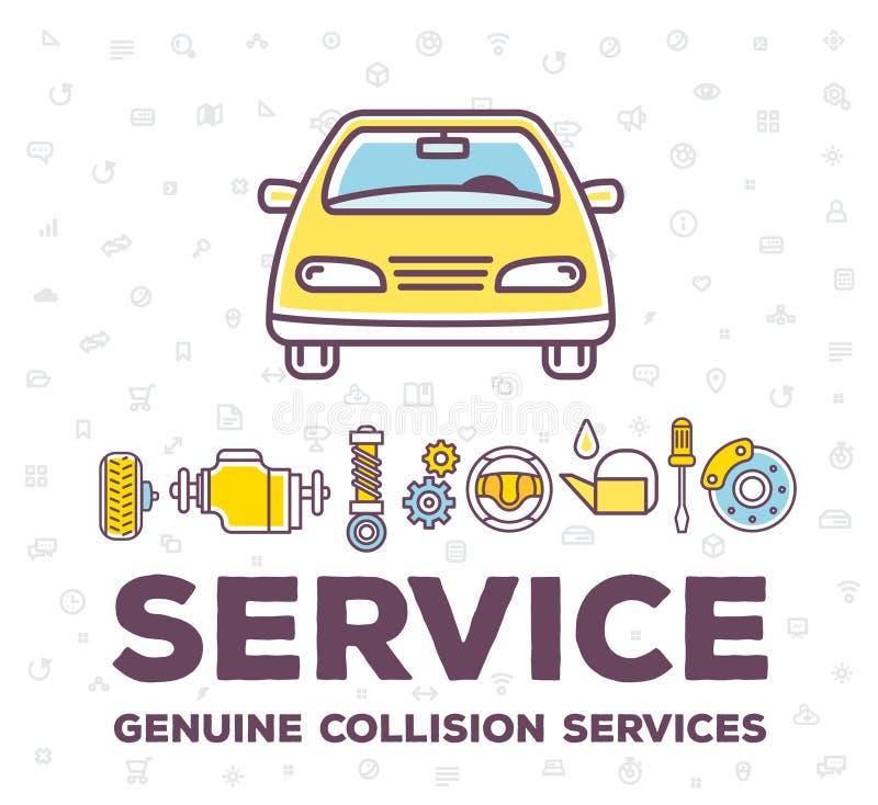 Illustration créative de vecteur de voiture frontale de vue illustration stock