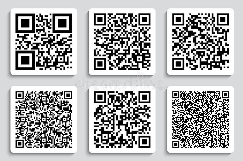 Illustration créative de vecteur des codes de QR, labels de empaquetage, code barres sur des autocollants Données de balayage de  illustration libre de droits