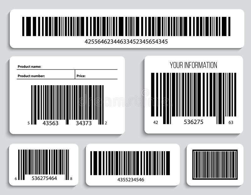 Illustration créative de vecteur des codes de QR, labels de empaquetage, code barres sur des autocollants Données de balayage de  illustration de vecteur