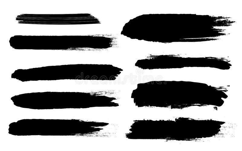 Illustration créative de vecteur des courses approximatives noires grunges de brosse d'isolement sur le fond Taches de conception illustration libre de droits