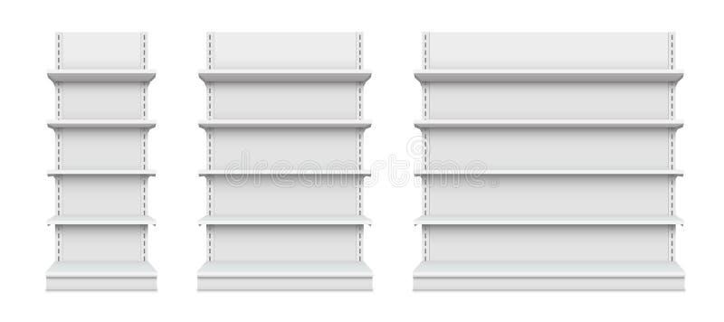 Illustration créative de vecteur des rayons de magasin vides d'isolement sur le fond Conception au détail d'art d'étagère Exposit illustration de vecteur