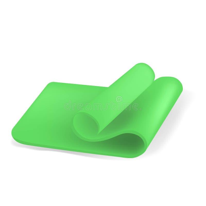 Illustration créative de vecteur du demi tapis roulé vert de yoga d'isolement sur le fond blanc Forme physique de conception d'ar illustration libre de droits