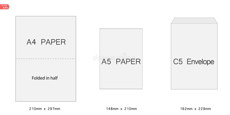 Illustration créative de vecteur de l'ensemble blanc de calibre d'enveloppes du papier blanc C5 d'isolement sur le fond blanc int illustration libre de droits