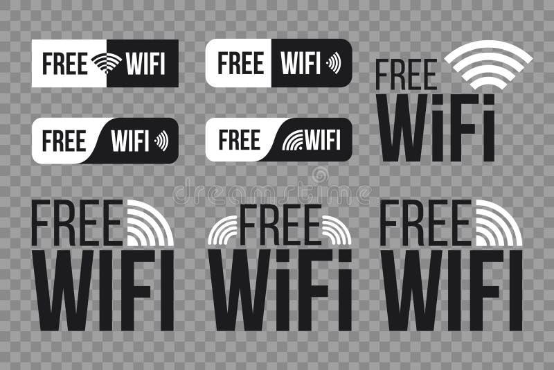 Illustration créative de vecteur de l'ensemble de symbole gratuit d'icône de wifi d'isolement sur le fond transparent Réseau sans illustration libre de droits