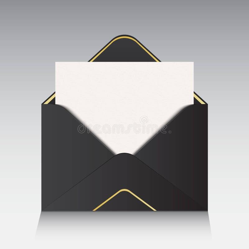 Illustration créative de vecteur de l'enveloppe de papier ouverte d'isolement sur le fond Pour le message, le courrier, l'email e illustration stock