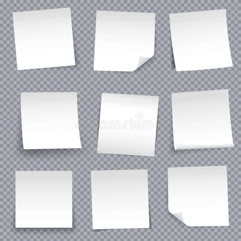Illustration créative de vecteur de la goupille d'autocollant de papiers de note de courrier d'isolement sur le fond transparent  illustration stock