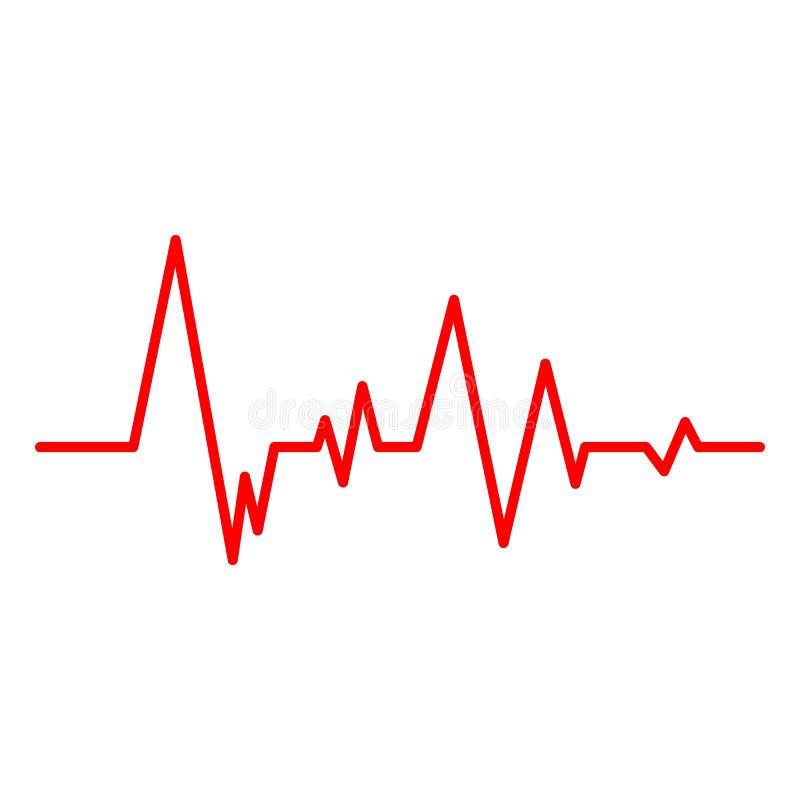 Illustration créative de vecteur de ligne de coeur cardiogramme d'isolement sur le fond Impulsion médicale de battement de coeur  illustration stock
