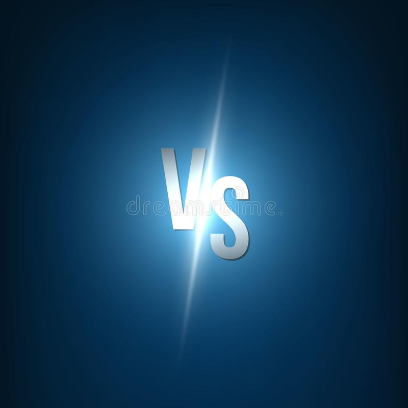 Illustration créative de vecteur de lueur contre le fond CONTRE la conception d'art de logo pour la concurrence, combat, manifest illustration libre de droits