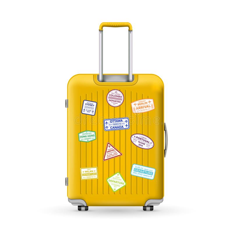 Illustration créative de vecteur de valise en plastique de grand voyage réaliste de polycarbonate avec des roues d'isolement dess illustration de vecteur