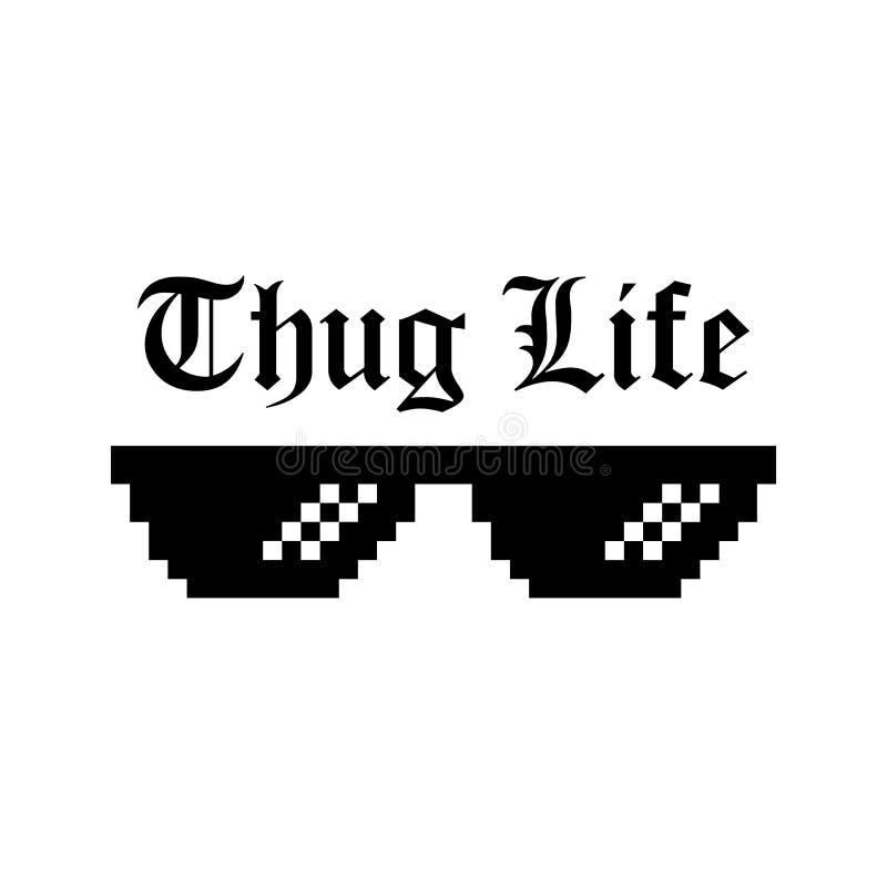 Illustration créative des verres de pixel de meme de la vie de voyou d'isolement sur le fond transparent Art d de culture de mode illustration libre de droits