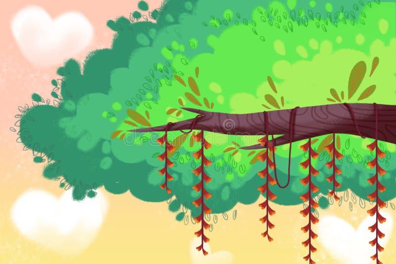 Illustration créative et art innovateur : Fond heureux d'arbre illustration libre de droits