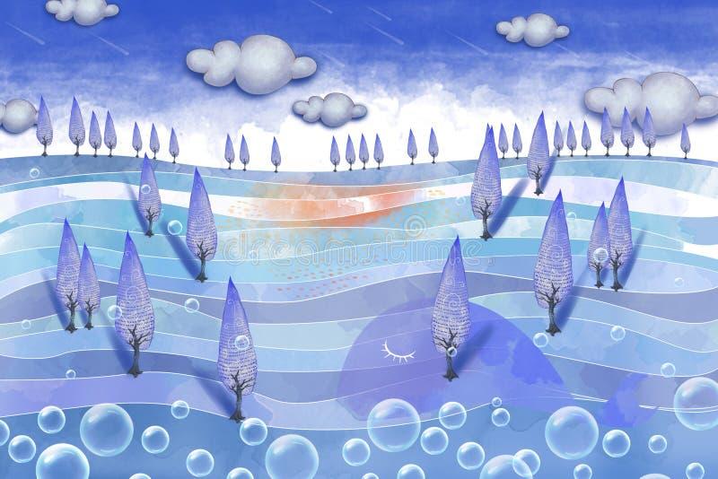 Illustration créative et art innovateur : Forest On la mer illustration stock