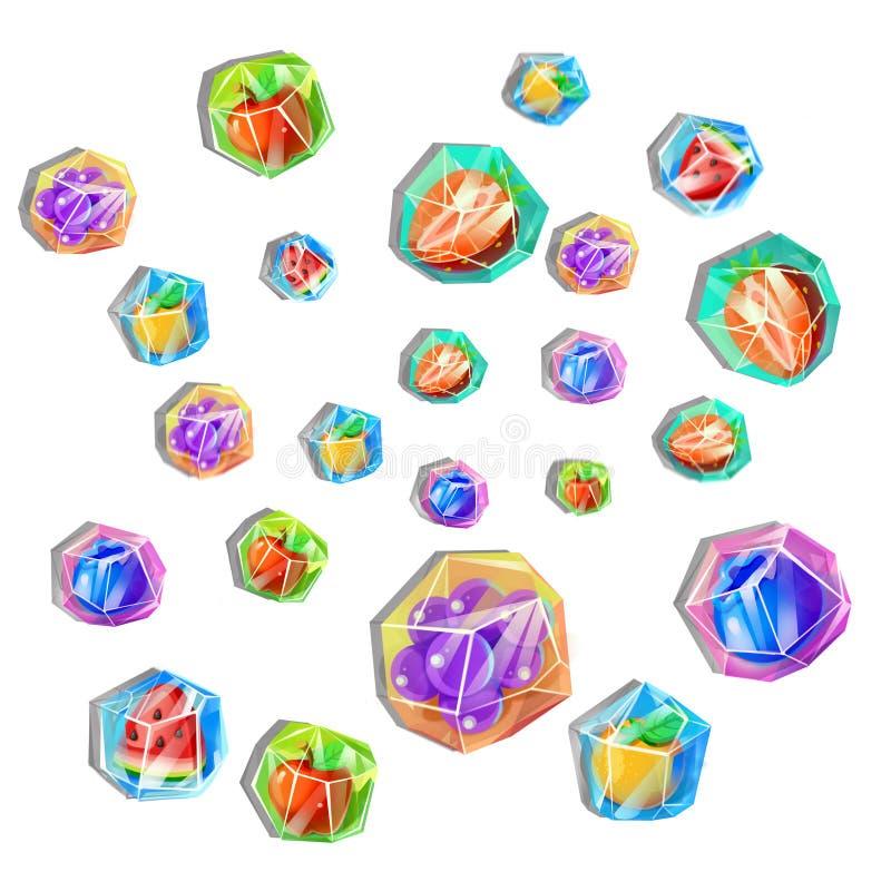 Illustration créative et art innovateur : Glaçons congelés de fruit illustration de vecteur