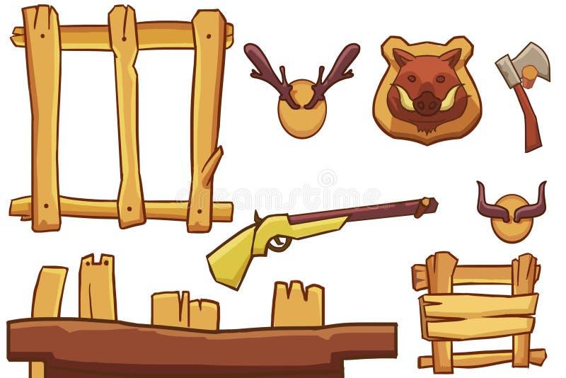 Illustration créative et art innovateur : Hunter Equipment illustration de vecteur