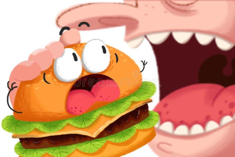 Illustration créative et art innovateur : La panique Hambourg va être mangée par une grande bouche illustration de vecteur