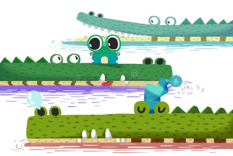 Illustration créative et art innovateur : La petite grenouille sur le bateau de crocodile illustration stock