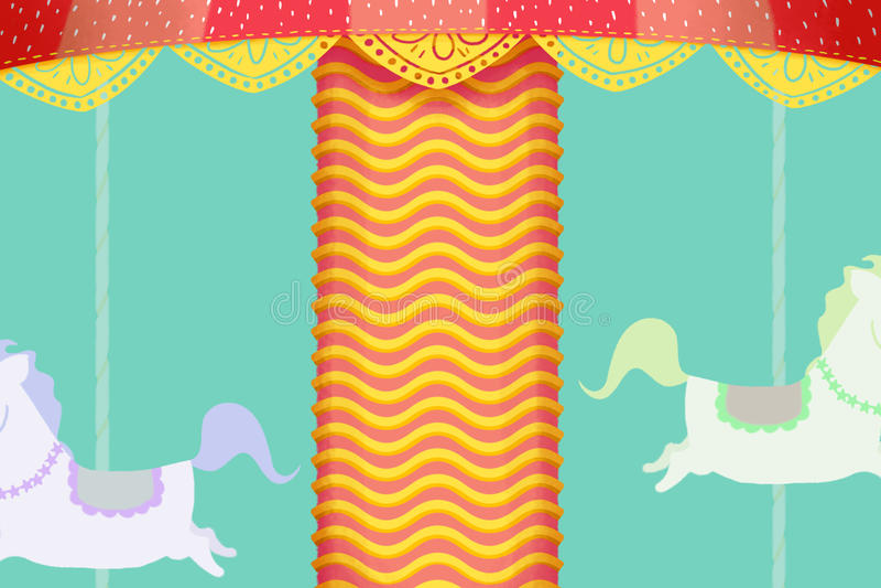 Illustration créative et art innovateur : Le cheval joyeux vont rond Scène fantastique réaliste d'illustration de style de bande  illustration stock