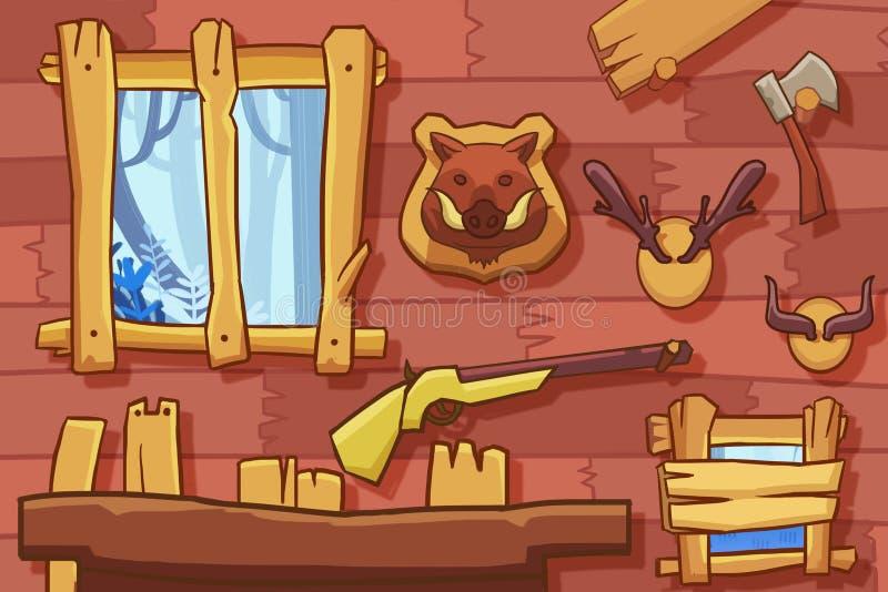 Illustration créative et art innovateur : Le fond intérieur a placé 2 : La pièce du chasseur illustration de vecteur