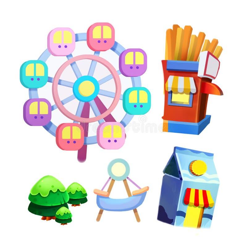 Illustration créative et art innovateur : Les articles de nature et de bande dessinée de terrain de jeu réglés ont isolé 2 illustration stock