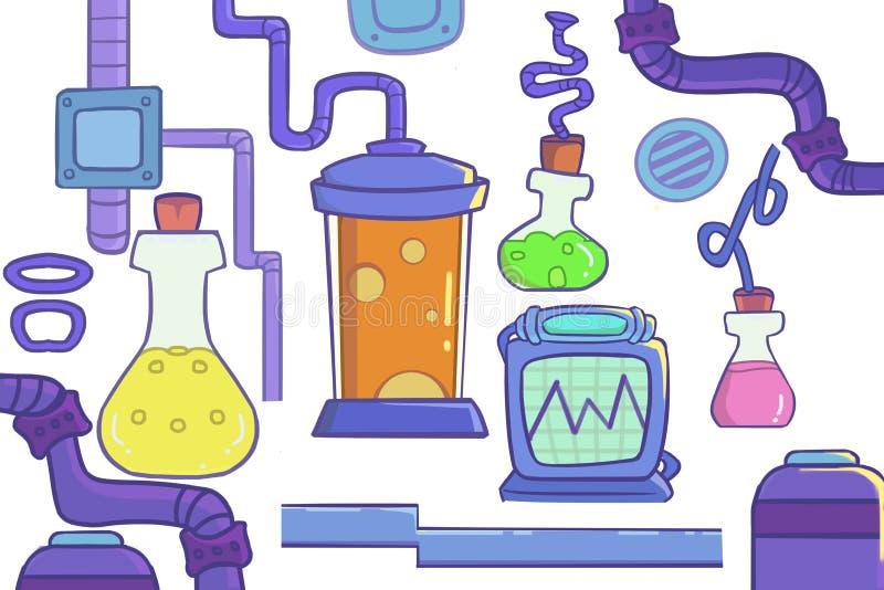 Illustration créative et art innovateur : Marchandises de laboratoire illustration de vecteur