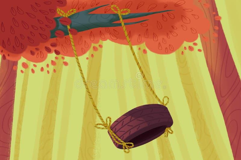 Illustration créative et art innovateur : Oscillation de pneu dans la forêt illustration libre de droits