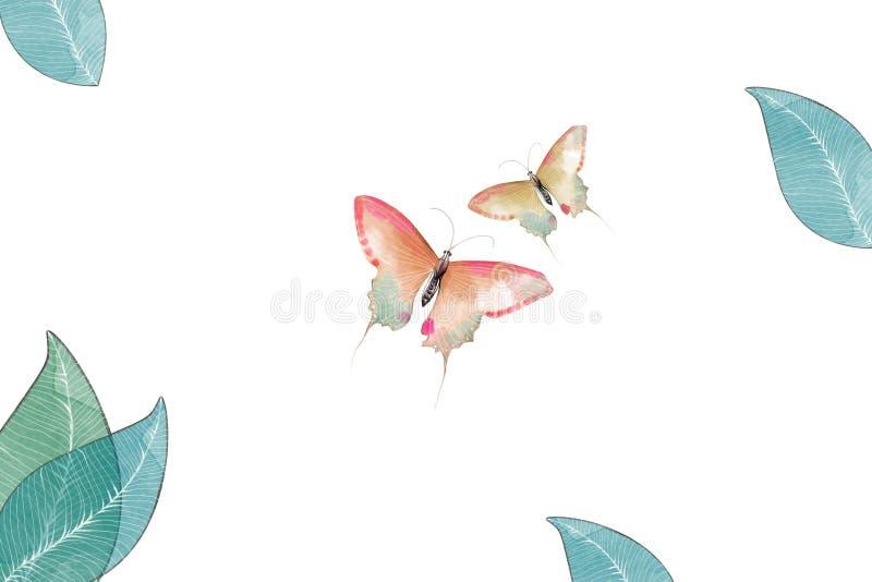 Illustration créative et art innovateur : Papillon et feuilles illustration de vecteur