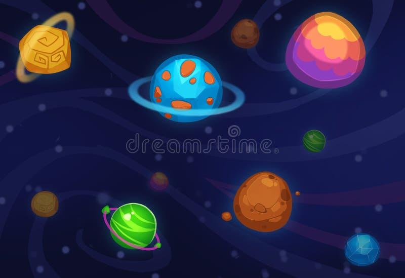 Illustration créative et art innovateur : Planètes colorées d'isolement sur le fond foncé illustration libre de droits