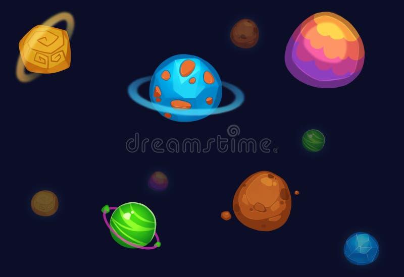 Illustration créative et art innovateur : Planètes colorées sur le fond foncé illustration stock