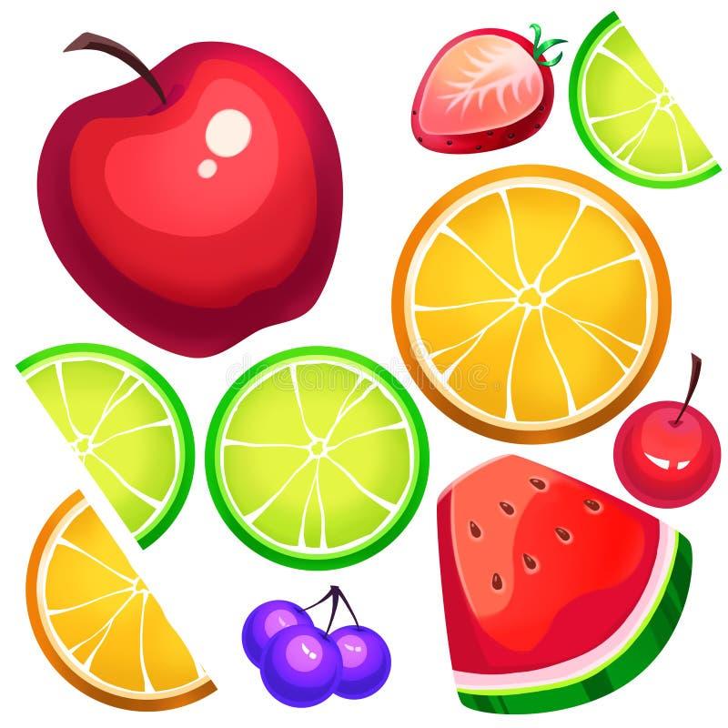 Illustration créative et art innovateur : Tranches assorties de fruit frais illustration libre de droits