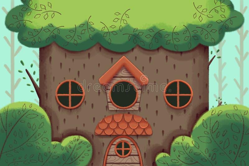 Illustration créative et art innovateur : Une grande cabane dans un arbre illustration libre de droits
