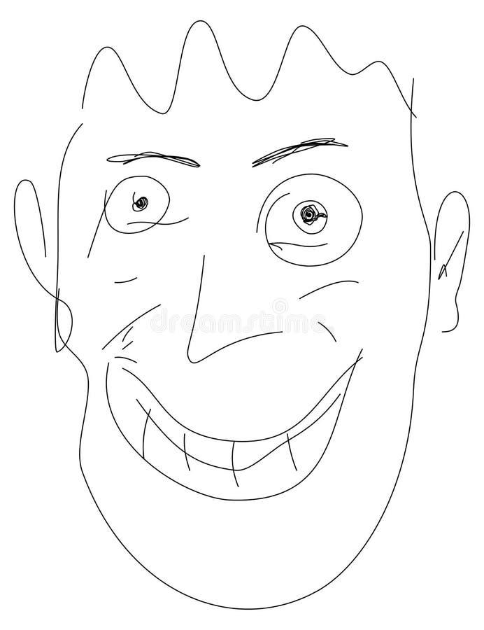 Illustration of crazy face stock illustration