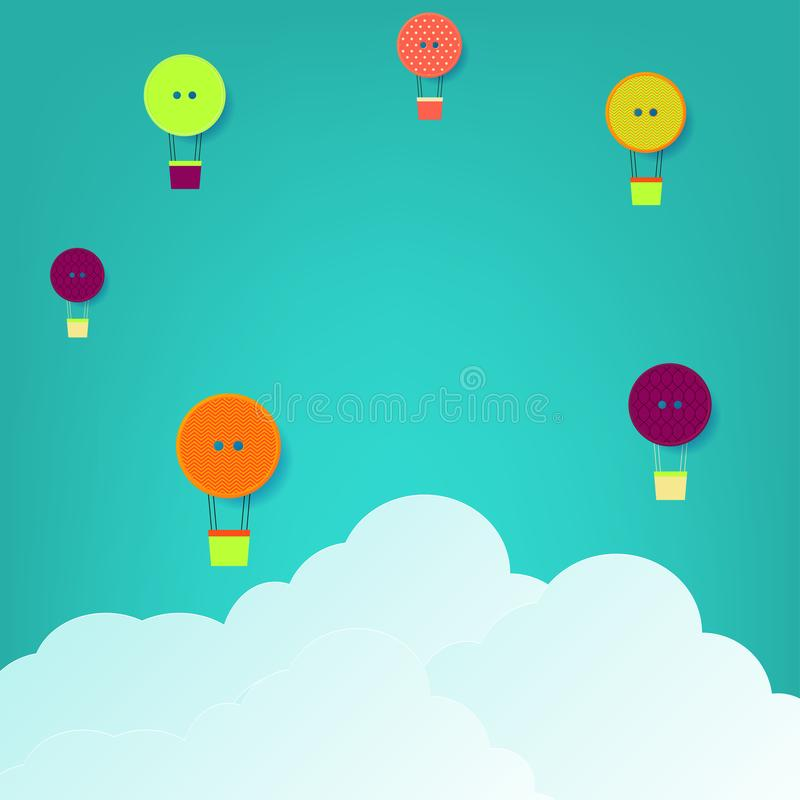 Illustration for creative background. Buttons made hot air balloon in the sky and origami clouds. royalty free illustration