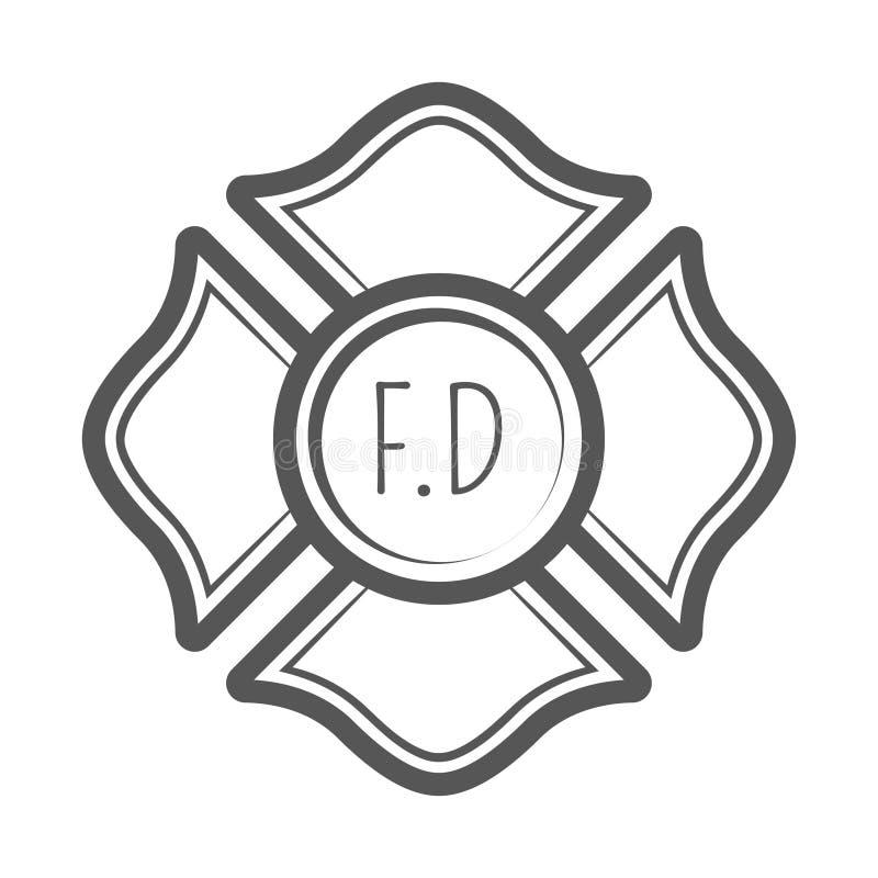 Illustration croisée de vecteur de sapeur-pompier dans le style de vintage de monocrome photos libres de droits
