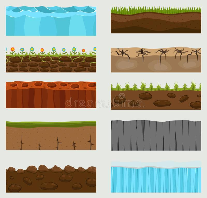 Illustration of cross section ground slice isolated on white background. Some ground-slices piece nature cross outdoor. Illustration of cross section ground vector illustration
