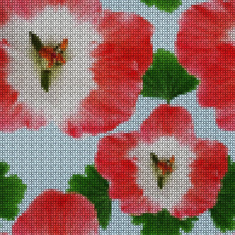 Illustration. Cross-stitch. Geranium, pelargonium. Seamless pattern. Illustration. Cross-stitch. Geranium, pelargonium. Texture of flowers. Seamless pattern for stock illustration