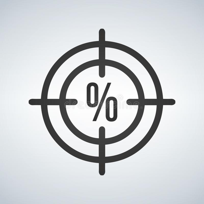 Illustration of a crosshair icon with a discount precentage sign royalty free illustration